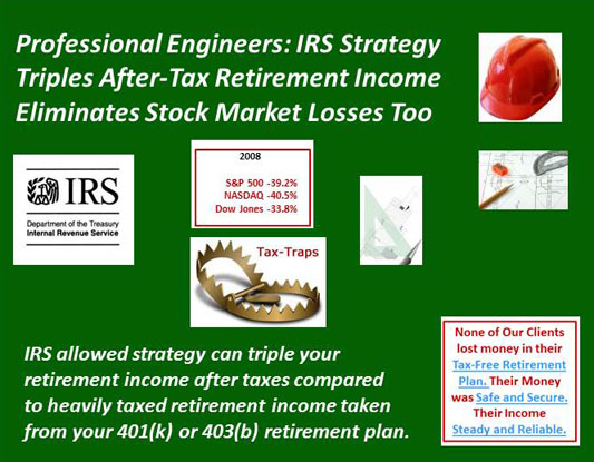 Professional Engineers IRS Strategy Triples  After-Tax Retirement Income & Eliminates Stock Market Losses Too